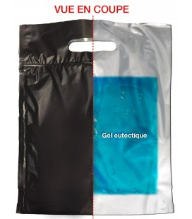 50 Pochettes isothermes zip 25 x 32 cm avec gel eutectique et poignée découpée